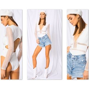 🆕SUPERDOWN Revolve Britni DeepV Lace Bodysuit